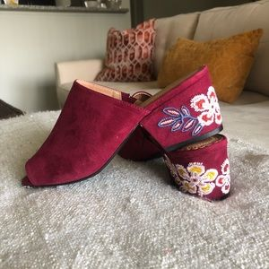 RESTRICTED Maroon Open Toe Mules